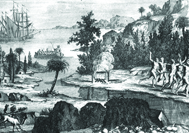 This is a drawing showing Timucua Natives fleeing the Spanish settlers, who arrived by ship.