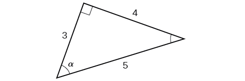 Right triangle with sides of 3, 4, and 5. Angle alpha is also labeled which is opposite the side labeled 4.