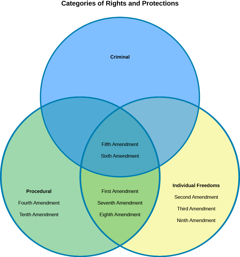 "A Venn Diagram labeled ""Categories of Rights and Protections"". The top circle of the diagram is labeled ""Criminal"", the circle on the left is labeled ""Procedural"", and the circle on the right is labeled ""Individual Freedoms"". The values ""Fifth Amendment"" and ""Sixth Amendment"" are shown in the center of the diagram where all three circles overlap. The values ""Fourth Amendment"" and ""Tenth Amendment"" are shown in the circle on the left labeled ""Procedural"". The values ""First Amendment"", ""Seventh Amendment"", and ""Eighth Amendment"" are shown at the bottom of the diagram where the circles labeled ""Procedural"" and ""Individual Freedoms"" overlap. The values ""Second Amendment"", ""Third Amendment"", and ""Ninth Amendment"" are shown in the circle on the right labeled ""Individual Freedoms""."