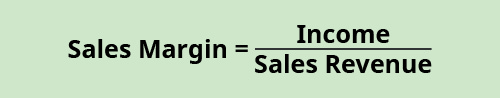 Sales Margin equals Income divided by Sales Revenue.