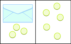 This image is divided into two parts: the first part shows an envelope and 3 blue counters and the next to it, the second part shows five counters.