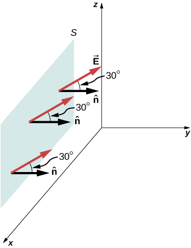 A rectangular surface S is shown in the xz plane. Three arrows labeled n hat originate from three points on the surface and point in the positive y direction. Three longer arrows labeled vector E also originate from the same points. They make an angle of 30 degrees with n hat.