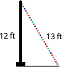 A vertical pole is shown with a string of lights going from the top of the pole to the ground. The pole is labeled 12 feet. The string of lights is labeled 13 feet.