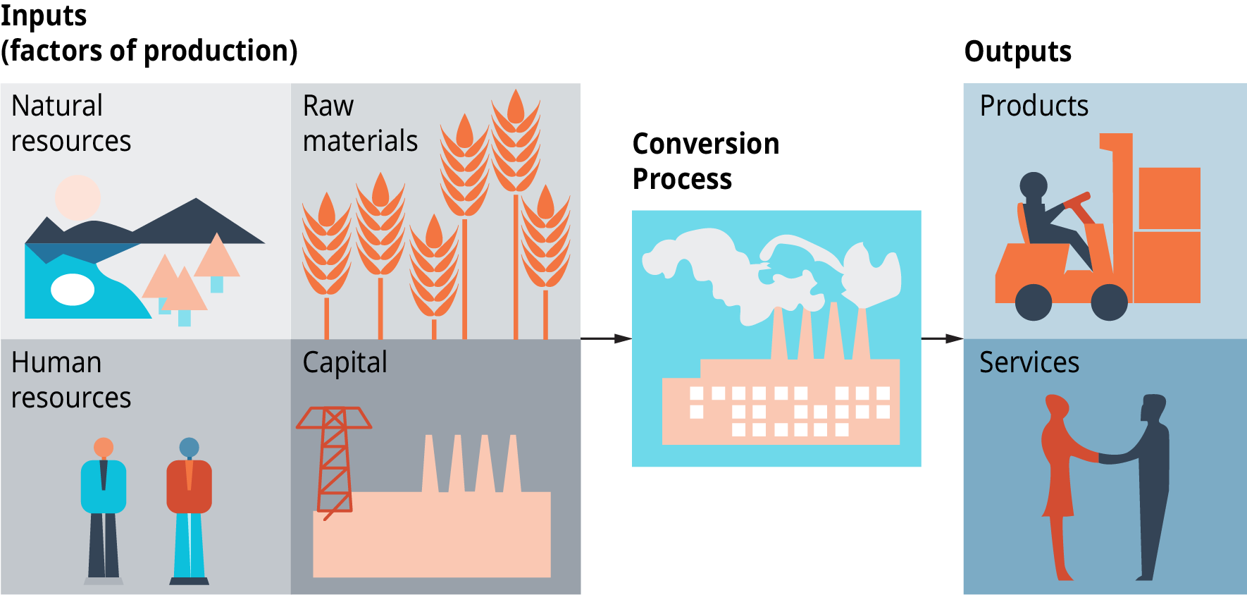 Diagram shows the inputs, which are factors of production, as natural resources, human resources, raw materials, and capital. A conversion process takes place, and the outputs are products and services.