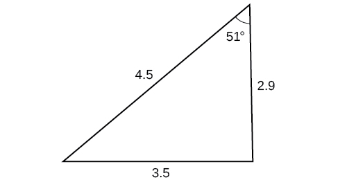 A triangle. One angle is 51 degrees with opposite side = 3.5. The other two sides are 4.5 and 2.9.