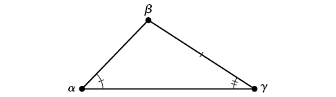 An oblique triangle consisting of angles alpha, beta, and gamma. Alpha and gamma are known, as is the side opposite alpha, between beta and gamma.