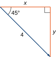 "This figure is a right triangle. The two sides are labeled ""x"" and ""y."" The hypotenuse is labeled ""4."" There is also an angle labeled ""45 degrees."" The hypotenuse is represented as a vector."