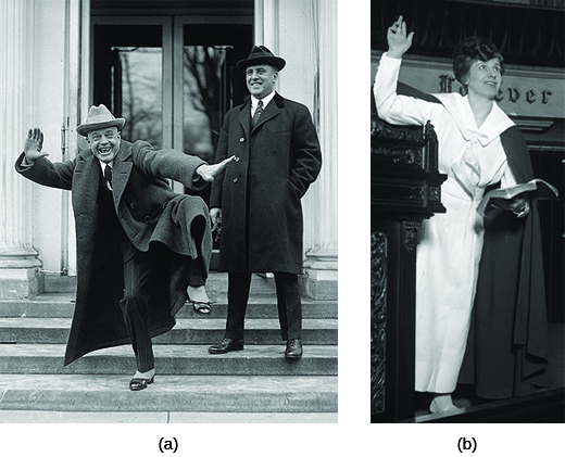 Photograph (a) shows Billy Sunday leaving the White House with another man beside him; he strikes a comical pose, lifting one leg and spreading his arms wide for the camera. Photograph (b) shows Aimee Semple McPherson preaching and gesturing with one arm.