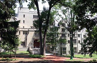 A photograph shows Morrison Hall, the building that houses the Kinsey Institute for Research in Sex, Gender, and Reproduction.
