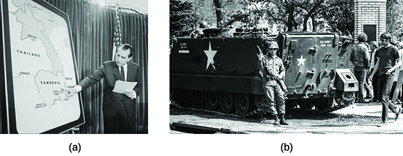 Photograph (a) shows Richard Nixon speaking on a stage beside a large map of Southeast Asia; he points to Cambodia with one hand. Photograph (b) shows a National Guard tank at Kent State University. A uniformed National Guardsman stands in front of the tank, holding a rifle; several students are visible in the background.