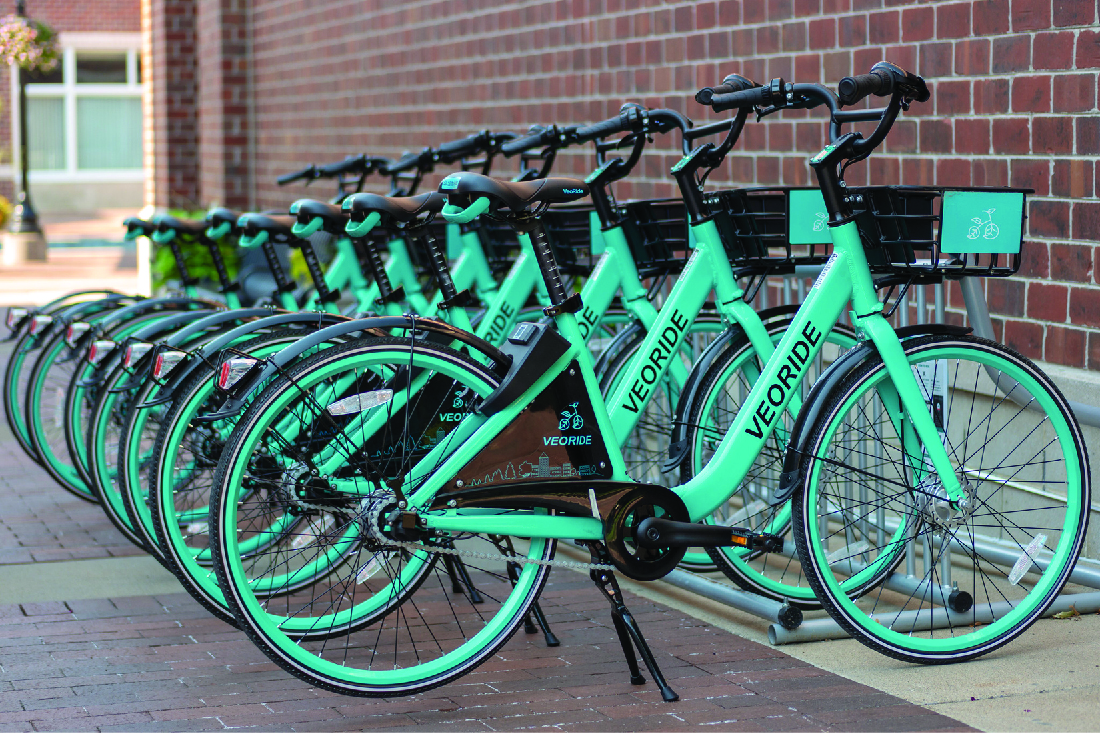 Photo of a row of VEORIDE bikes.