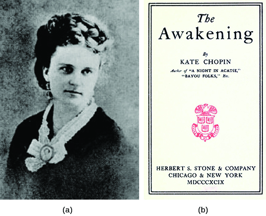 Photograph (a) is a portrait of Kate Chopin. Photograph (b) shows the cover of The Awakening.