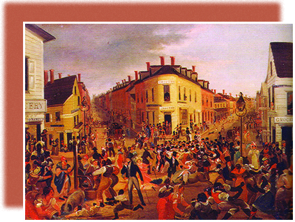 A painting depicts a busy street in the Five Points neighborhood. People of all ages, ethnicities, and social classes swarm in various directions, with buildings and shops in the background.
