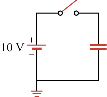 The figure shows a circuit with an open switch with one end connected to a capacitor. The other end of the capacitor is connected to the negative terminal of a 10-volt voltage source. The positive terminal of the voltage source is connected to the other end of the open switch. The connection between the capacitor and voltage source is also connected to the ground.