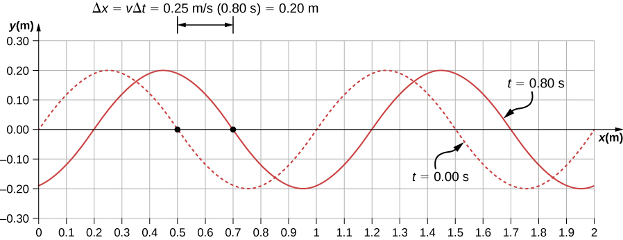 Figure shows two transverse waves whose y values vary from -0.2 m to 0.2 m. One wave, marked t=0 seconds is shown as a dotted line. It has crests at x equal to 0.25 m and 1.25 m. The other wave, marked t=0.8 seconds is shown as a solid line. It has crests at x equal to 0.45 m and 1.45 m.