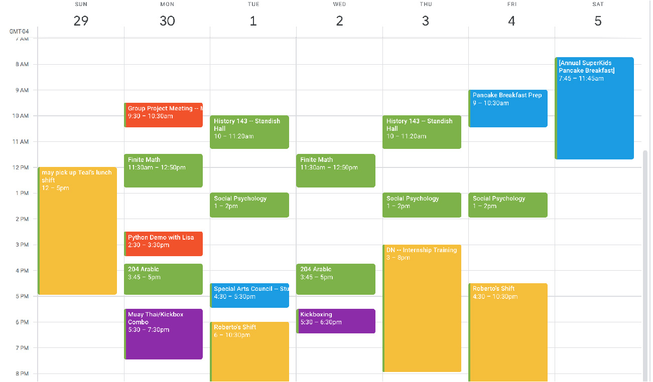 A student's work calendar shows to-dos on a particular week from 7 A M to 8 P M, at standard time G M T 0 4.