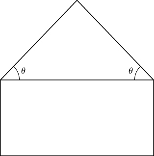 A rectangle with an isosceles triangle on top. The side of the isosceles triangle with the two equal angles of size θ overlaps the top length of the rectangle.