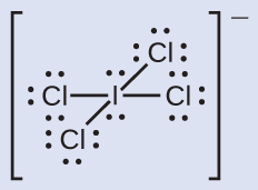 A Lewis structure is shown. An iodine atom with two lone pairs of electrons is single bonded to four chlorine atoms, each of which has three lone pairs of electrons. Brackets surround the structure and there is a superscripted negative sign.