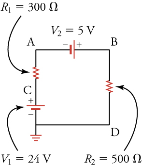The figure shows a circuit with four points labeled A, B, D, and C in clockwise direction. Between points A and B is a voltage of 5 volts with the negative terminal connected to point A. Between points B and D is a resistor of 500 ohms. Between points D and C is a voltage of 24 volts with negative terminal connected to point D and ground. Finally, between points C and A is a resistor of 300 ohms.