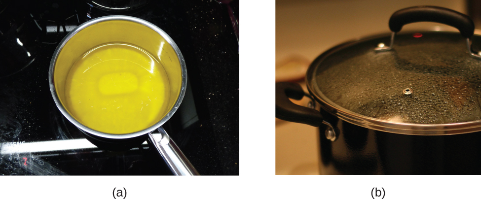 Figure A is a photograph of butter melting in a pot on a stove. Figure B is a photograph of something being heated on a stove in a pot. Water droplets are forming on the underside of a glass cover that has been placed over the pot.