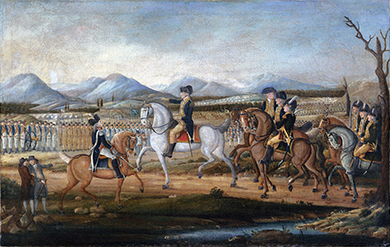 A painting shows George Washington, who is mounted on horseback, leading a large number of troops, both mounted and on foot, on a large plain with mountains in the background.