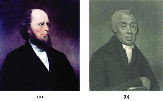 Painting (a) is a portrait of Charles Grandison Finney. Painting (b) is a portrait of Richard Allen.