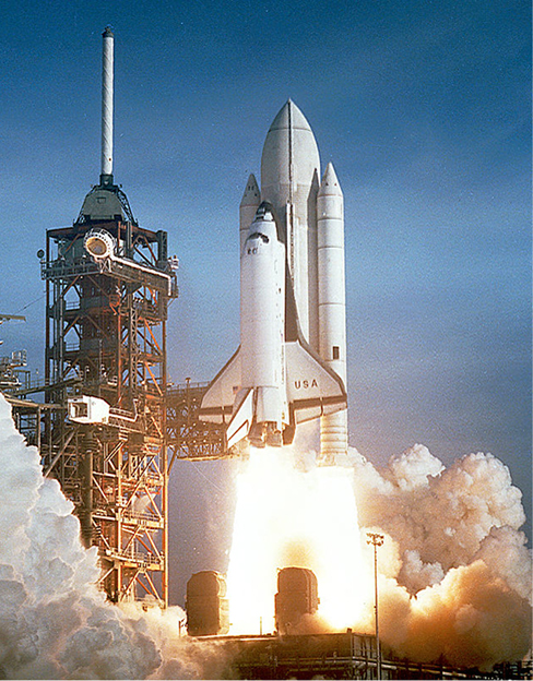 A photograph of the space shuttle taking off.