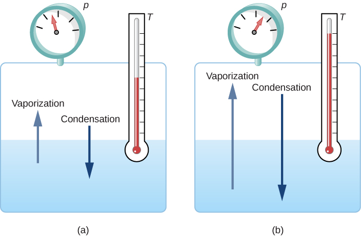 Figure a shows a tank of water that is half filled. An arrow going up from the water is labeled vaporization. An arrow going down from the air within the tank to the water is labeled condensation. A pressure gauge and thermometer are attached to the tank. Figure b shows the same setup. The pressure and temperature in figure b are higher than those in figure a. The arrows indicating vaporization and condensation are also longer than those in figure a.