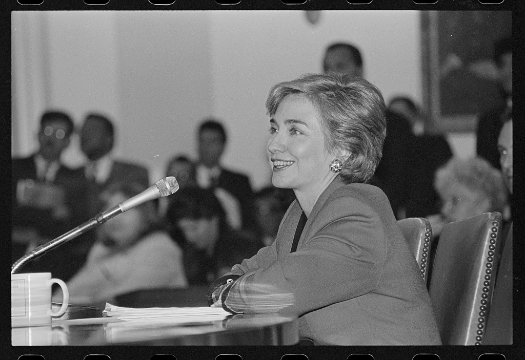 A photo of Hillary Clinton at a congressional hearing on health care reform in 1993.
