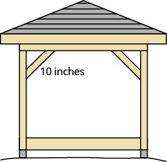 The figure is an illustration of a gazebo whose corner forms a right triangle with a 10 inch piece of wood that is placed diagonally to brace it.