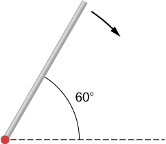 Figure shows a rod that is released from rest at an angle of 60 degrees with respect to the horizontal.