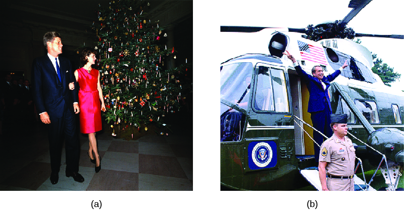 "Image A is a photo of John F. Kennedy and Jacqueline Kennedy. Image B is a photo of Richard Nixon standing in front of a helicopter making ""V for Victory"" signs with his hands."