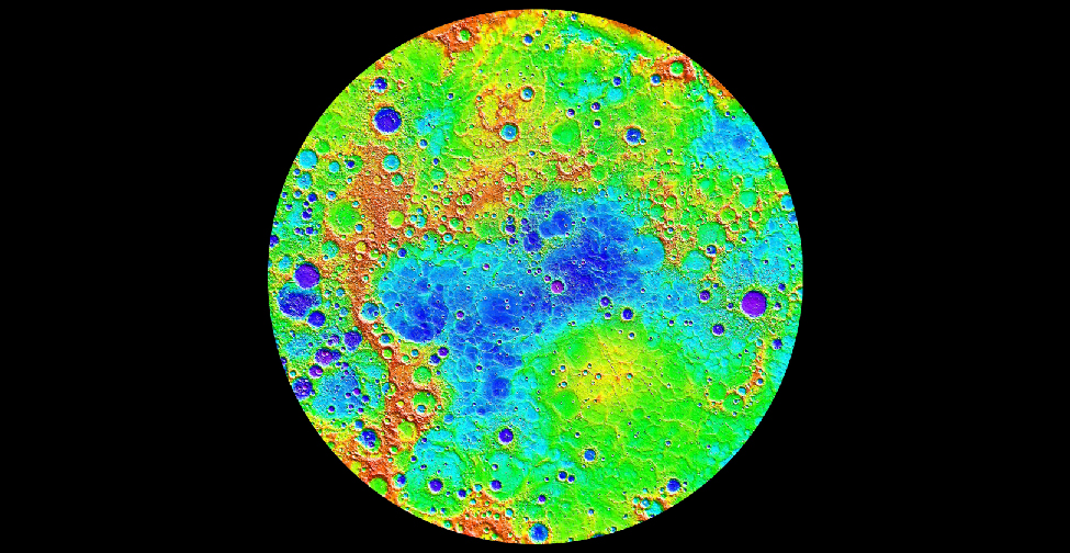 False Color Image of Mercury's Topography. Data from the MESSENGER spacecraft was used to compile this detailed image of Mercury's northern hemisphere. The lowest regions are shown in purple and blue, and the highest regions are shown in red. The difference in elevation between the lowest and highest regions shown here is roughly 10 kilometers.