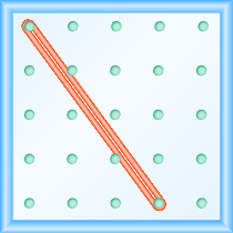 The figure shows a grid of evenly spaced dots. There are 5 rows and 5 columns. There is a rubber band style loop connecting the point in column 1 row 1 and the point in column 4 row 5.