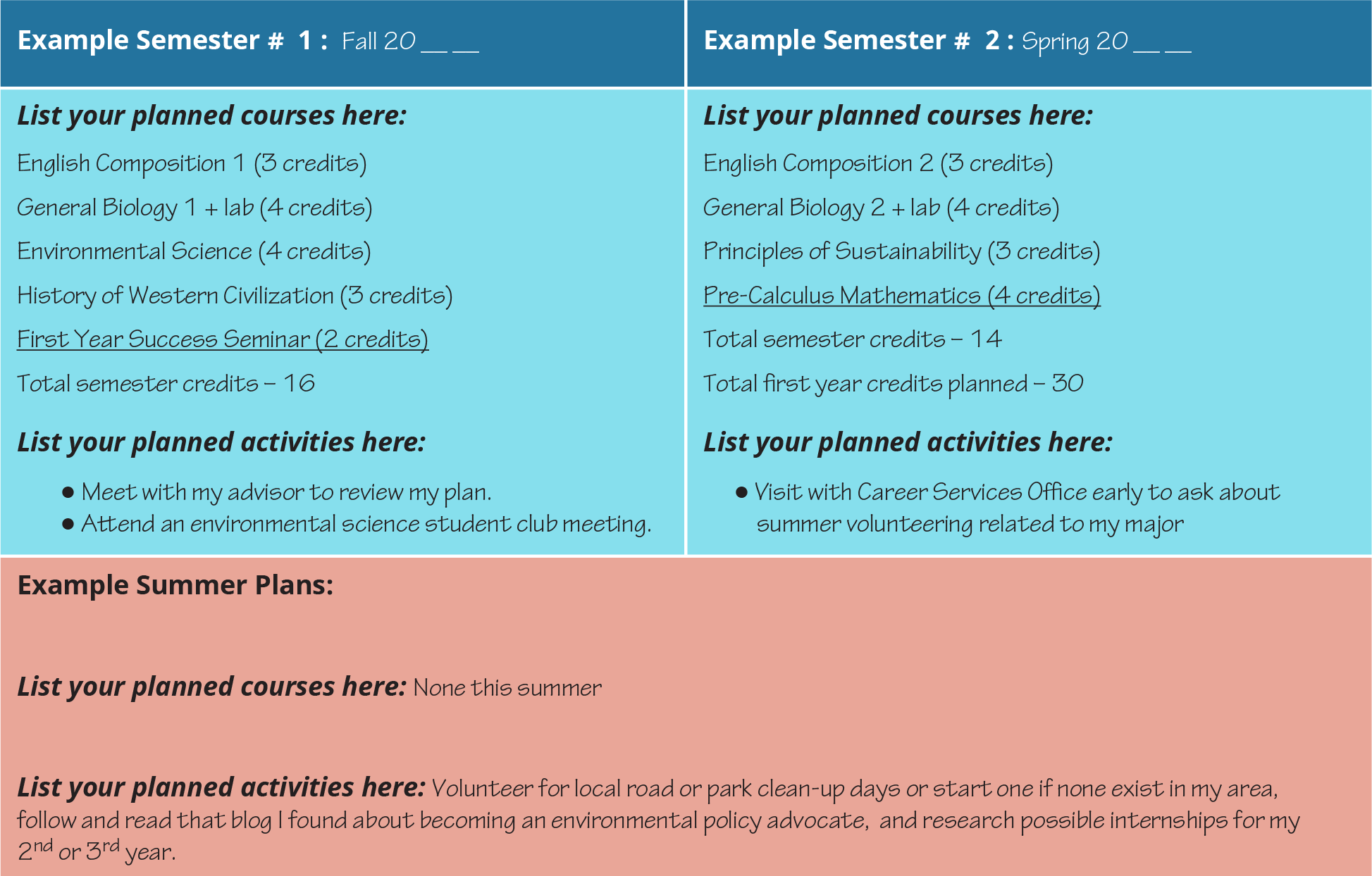 A sample grid diagram shows students' planning for different semesters, including planned activities, summer plans, and planned courses.