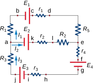 Circuit that across the top from left to right goes point b, battery with voltage E1, point c, resistor with resistance r1, and point d; across the middle goes point a, battery with voltage E2, point k, resistor with resistance r2, point l, resistor with resistance R2, and point e; across the bottom goes point j, battery with voltage E3, point i, resistor with resistance r3, and point h; along the left side from top to bottom goes a resistor with resistance R1, point a, and a resistor with resistance R3; and along the right side goes a resistor with resistance R5, point e, a resistor with resistance r4, point f, a battery with voltage E4, and point g. Additionally, there are three arrows showing the direction of the current: one between point a and the resistor with resistance R1 pointing up; another between point a and the battery with voltage E2 pointing right; and another between point j and the resistor with resistance R3 pointing up.