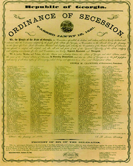 An image of Georgia's Ordinance of Secession is shown.