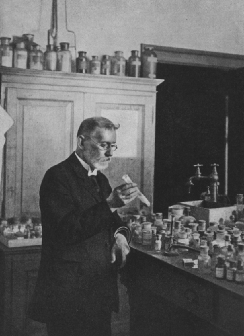 Drawing of Paul Ehrlich in the lab.