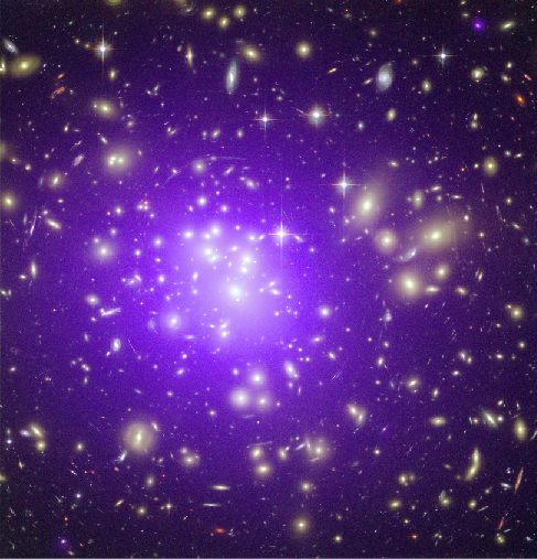 X-ray Image of a Galaxy Cluster. This composite image shows the galaxy cluster Abell 1689. The diffuse glow of X-rays, shown in purple, completely fills the central regions of this distant galaxy cluster.