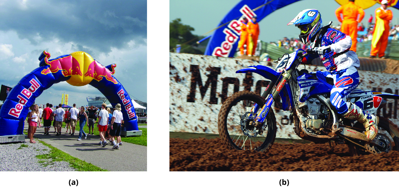 Photos of Red Bull-sponsored sporting events: (a) cliff diving; (b) Motocross.