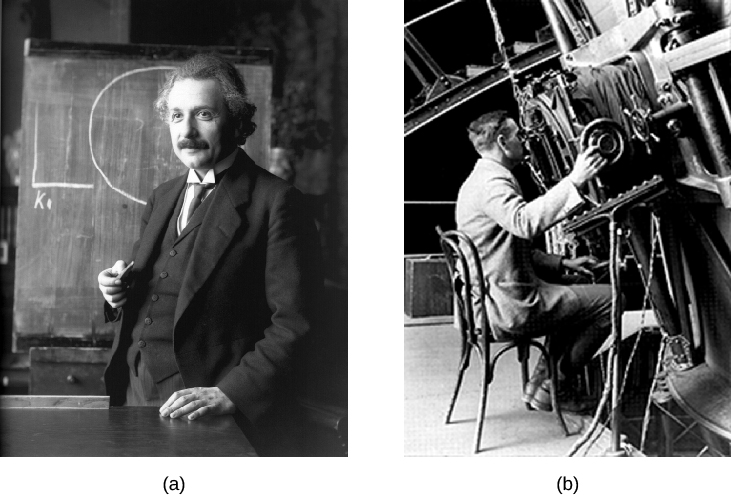 Part a is a photograph of Albert Einstein in front of a chalkboard. Part b is a photograph of Edwin Hubble using telescope equipment.