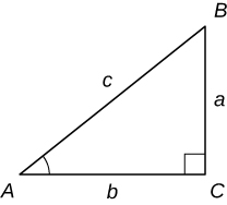 "An image of a triangle. The three corners of the triangle are labeled ""A"", ""B"", and ""C"". Between the corner A and corner C is the side b. Between corner C and corner B is the side a. Between corner B and corner A is the side c. The angle of corner C is marked with a right triangle symbol. The angle of corner A is marked with an angle symbol."
