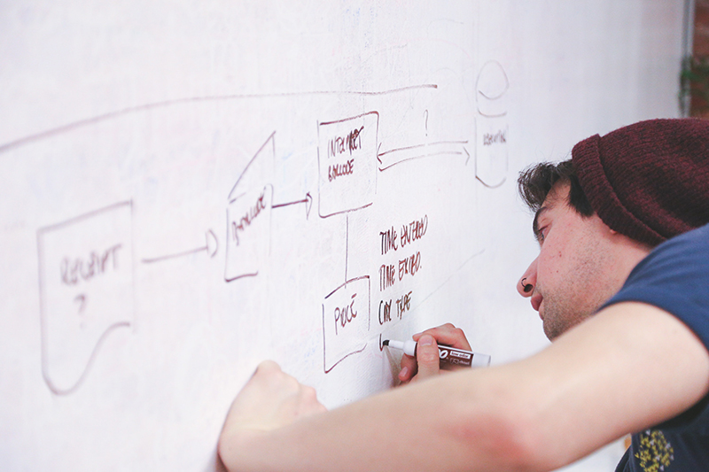 A photo shows a young man in casual wear drawing a flowchart on a whiteboard using a highlighter.