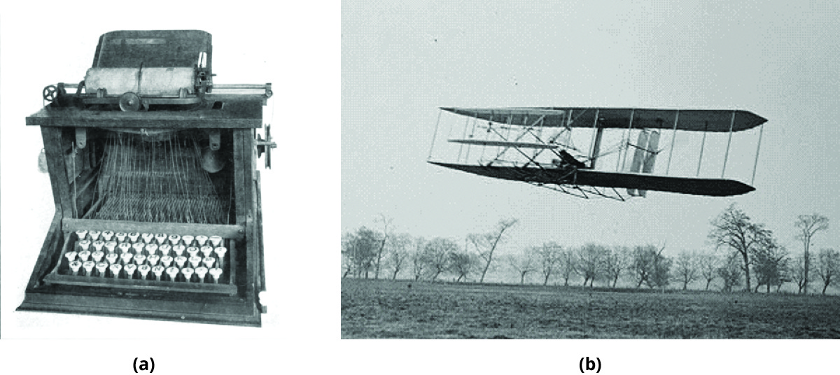 (a) Photo of a 1873 prototype of a typewriter. (b) Photo of an early airplane.