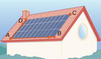 This figure is a picture of a rectangular solar grid on a roof. The corners of the rectangle are labeled A, B, C, D. There are two vectors, the first is from A to D. The second is from A to B.