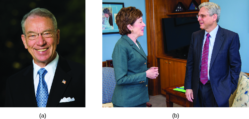 Image A is of Chuck Grassley. Image B is of Merrick Garland and Susan Collins.