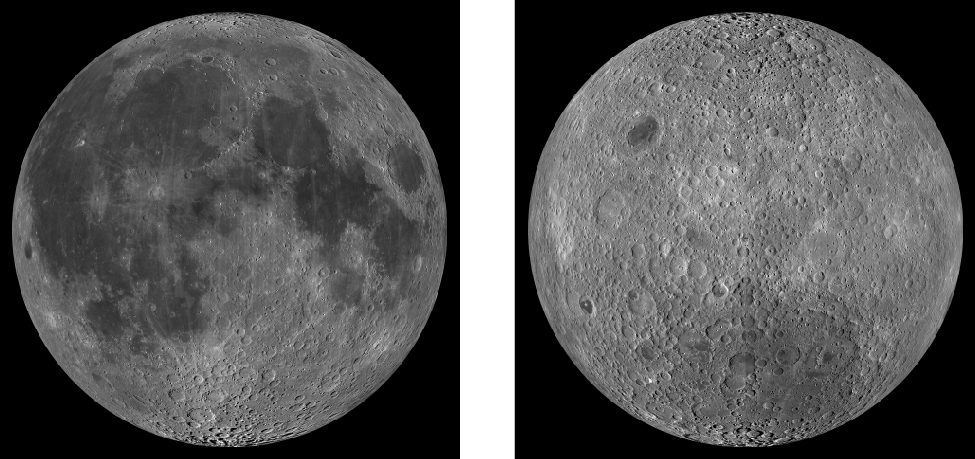 The Two Sides of the Moon. The left image shows part of the Moon's hemisphere that faces Earth; several dark maria and rayed craters are visible. The right image shows part of the Moon that faces away from Earth; it is dominated by highlands and is more heavily cratered.
