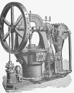 A black and white illustration of an early steam engine is shown.