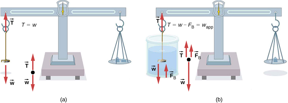 Figure A is a drawing of a coin in the air weighed on a manual scale. A large balance is used to counterbalance the coin. Figure B is a drawing of the same coin in water weighed on the manual scale. A smaller balance is used to counterbalance the coin.