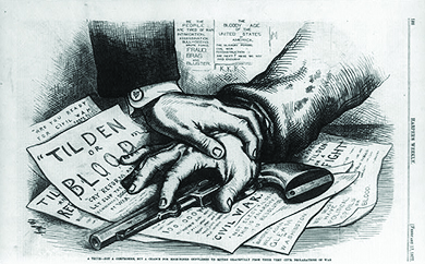 "A cartoon shows a man's hand covering a gun on a table; another man's hand covers his. Beneath the gun, papers are visible with the words ""Tilden or Blood,"" ""Are You Ready for Civil War?"" and ""Tilden or a Fight."" Beneath the cartoon, a caption reads ""A truce—not a compromise, but a chance for high-toned gentlemen to retire gracefully from their very civil declarations of war."""